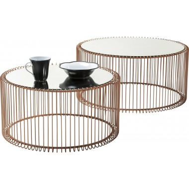 Tables basses Wire cuivre 2/set Kare Design