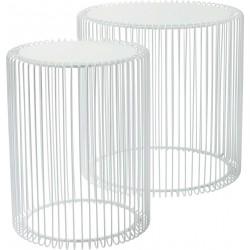 Mesa de Apoio Wire Branco (conj.2) Ø44cm
