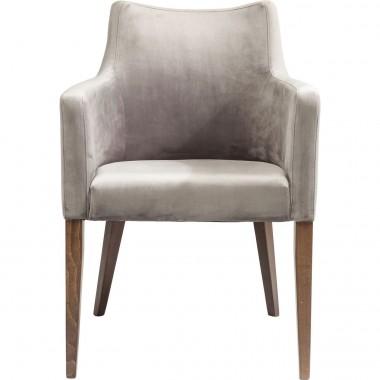 Chaise avec accoudoirs Mode Velvet grise Kare Design