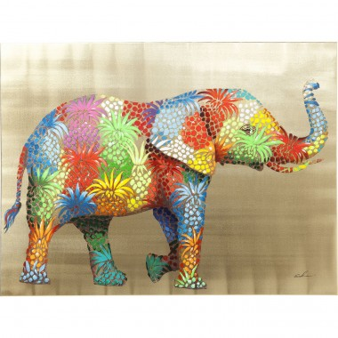 Tela a Óleo Flower Elefant 90x120cm-60441 (6)