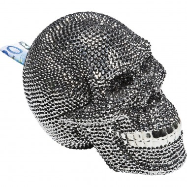 Mealheiro Skull Crystal Prateado