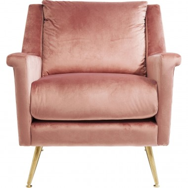 Fauteuil San Diego velours rose Kare Design