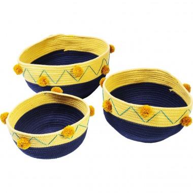 Paniers Pompon bleus et jaunes set de 3 Kare Design