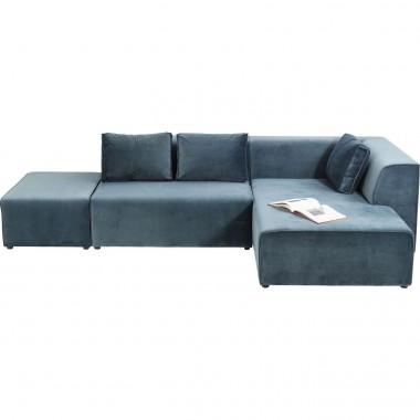 Sofá Infinity em veludo Azul c/Chaise Longue à dirt.