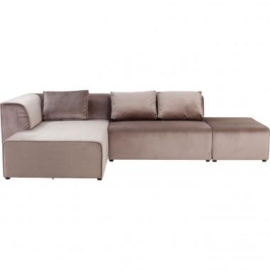 Sofá Infinity c/ chaise à Esq. em veludo Taupe-84023 (2)