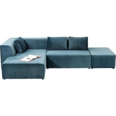 Sofá Infinity c/ chaise à Esq, em veludo Azul