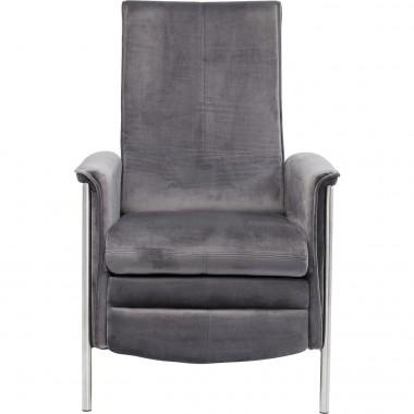 Fauteuil relax Lazy velours gris Kare Design
