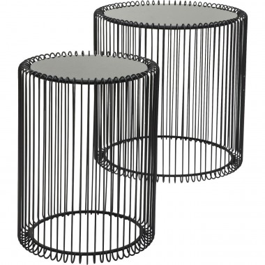 Tables d'appoint rondes Wire noires set de 2 Kare Design