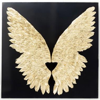 Decoração de Parede Wings Gold Preto 120x120cm
