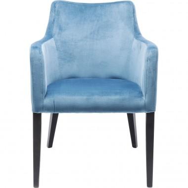 Cadeira de braços Mode em veludo Azul