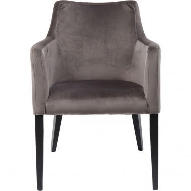 Cadeira de braços Mode em veludo Cinzento