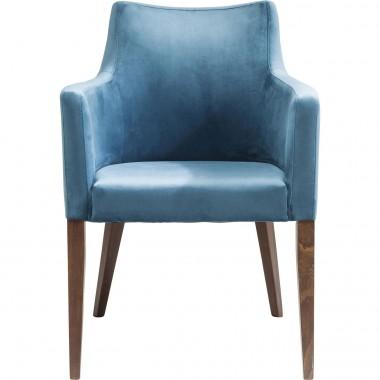 Chaise avec accoudoirs Mode Velvet pétrole Kare Design