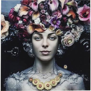 Quadro de Vidro Flower Art Lady 120x120cm-65022 (5)