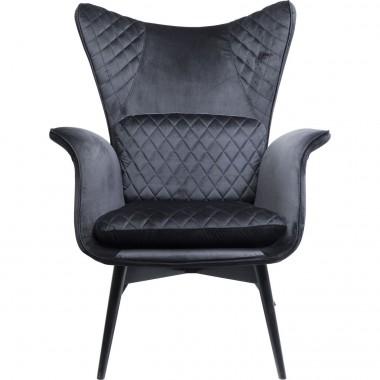 Fauteuil Tudor velours noir Kare Design