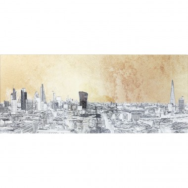 Quadro de Vidro Metallic London View 50x120cm