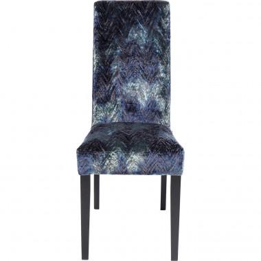 Chaise Econo Slim velours chevrons bleus Kare Design