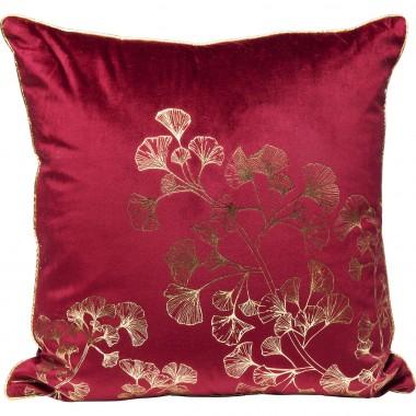 Coussin rouge feuilles de ginkgo 45x45cm Kare Design