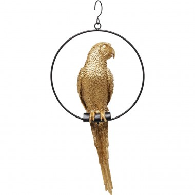 Peça Decorativa Swinging Parrot dourada