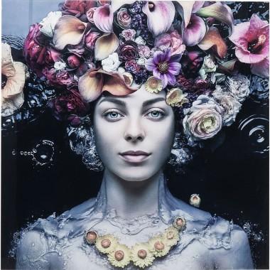 Quadro de Vidro Flower Art Lady 80x80cm