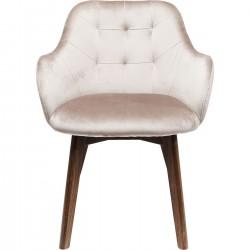 Cadeira de braços Lady em veludo Cinzento