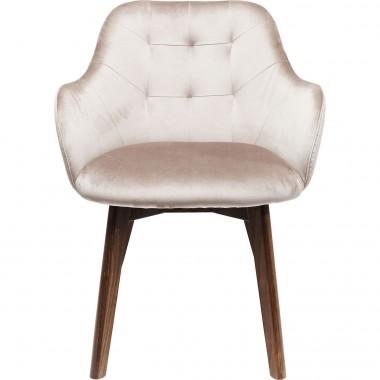 Chaise avec accoudoirs Lady velours stitch gris Kare Design