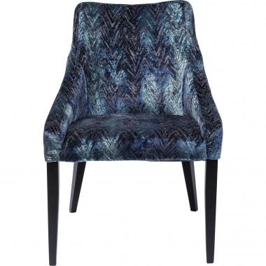 Chaise Mode velours chevrons bleus Kare Design