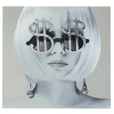Quadro de Vidro metálico Dollar Girl 120x120cm