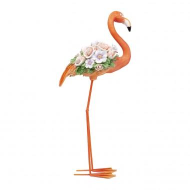Déco Flamant rose fleurs orange 75cm Kare Design