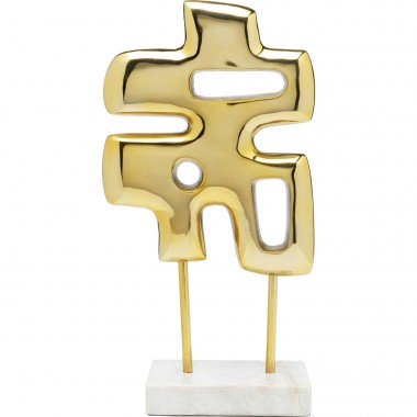 Peça Decorativa Abstracto Puzzle Dourada