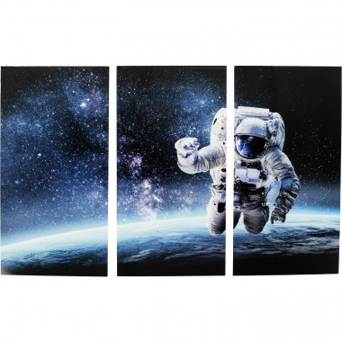 Quadro Vidro Triptychon Man in Space 160x240