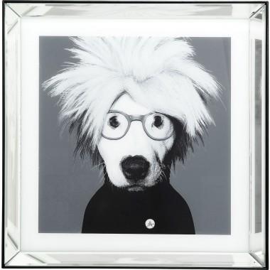 Quadro Moldura Espelho Artist Dog 60x60cm