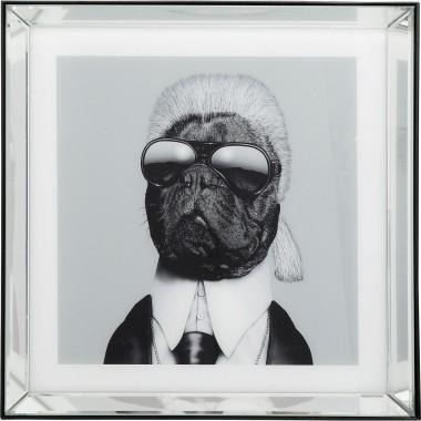 Quadro Moldura em Espelho Designer Dog 60x60cm