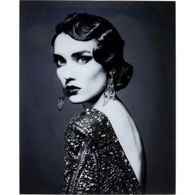 Quadro Vidro Beauty Lady 150x120cm