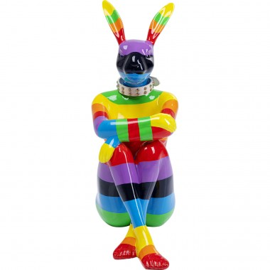 Objeto Decorativo Sitting Rabbit Rainbow 80cm