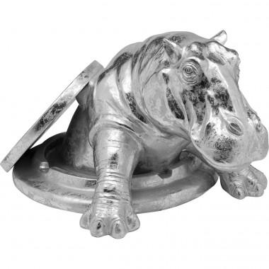 Objeto Decorativo Struggling Rhino Prateado