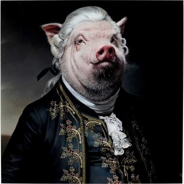 Quadro Vidro Gentleman Pig 120x120cm