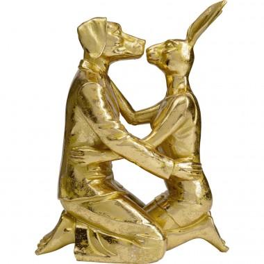 Objet décoratif Kissing Rabitt and Dog doré