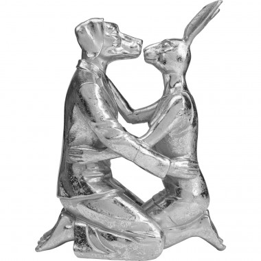 Objet décoratif Kissing Rabbit and Dog argenté