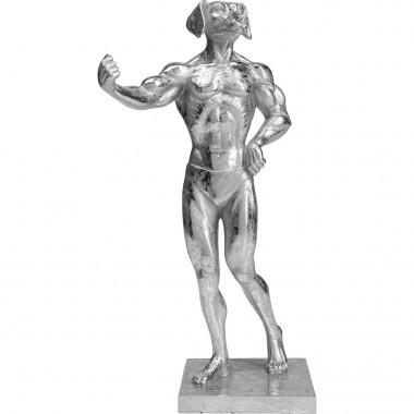 Objet décoratif Muscle Dog argenté