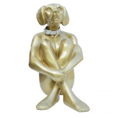 Peça Decorativa Sitting Dog Dourado 80cm-52484 (2)