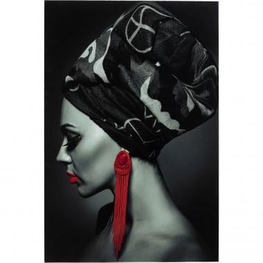 Quadro de Vidro Lady Red Earring 80x120cm