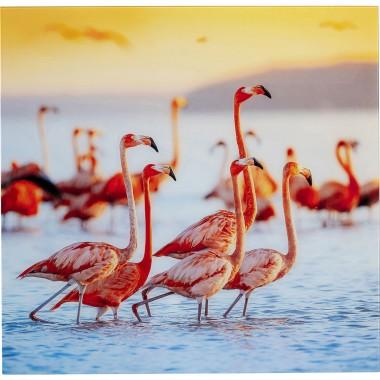 Quadro de Vidro Flamingo Family 80x80cm