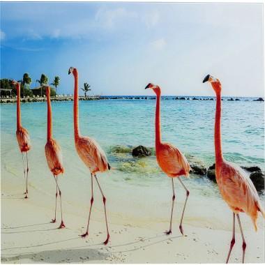 Quadro de Vidro Flamingo Walk 80x80cm