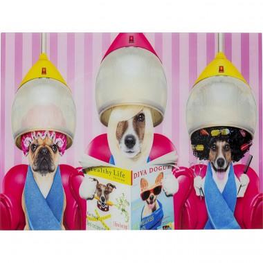 Quadro de Vidro Dogs Day Salon 80x60cm