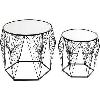 Mesa de apoio Cobweb preta (conjunto de 2)