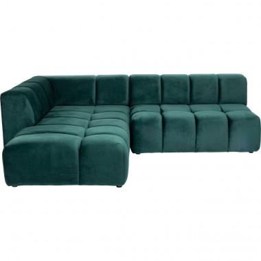 Sofá de canto Belami Velvet Dark Green esquerdo 265cm