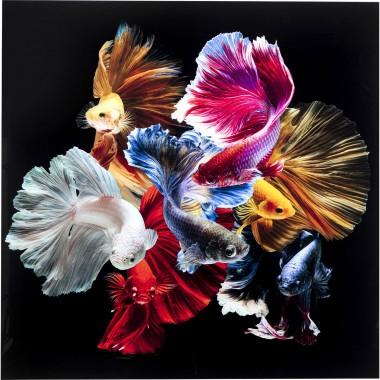 Quadro de vidro Colorful Swarm Fish 120x120cm