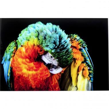 Quadro de vidro Tropical Parrot 120x80cm