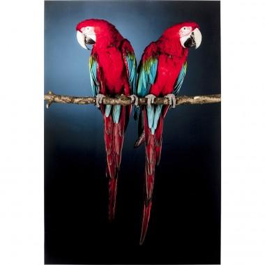 Quadro de vidro Twin Parrot 80x120cm