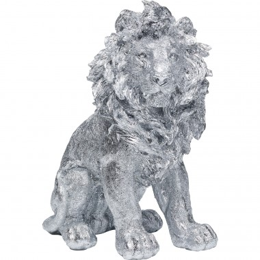 Peça Decorativa Sitting Lion Prata 42cm